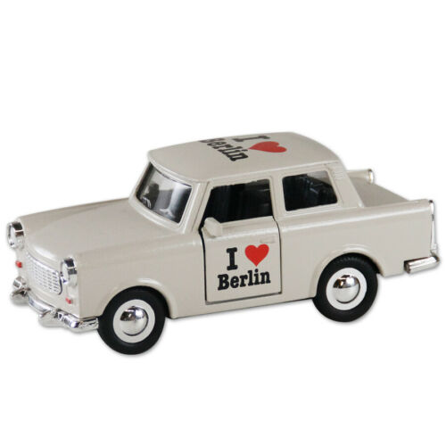 Trabi Trabant Limousine I love Berlin beige,Modellauto DDR Metall 12 cm,NEU