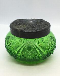 Antique-Art-Nouveau-Ultra-Rare-GREEN-Cut-Glass-Dresser-Jar-With-Cast-Brass-Lid