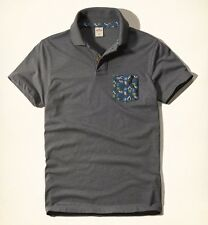 NWT HOLLISTER by A&F Mens Pattern Pocket Polo Grey FAST SHIPPING!! Size XL