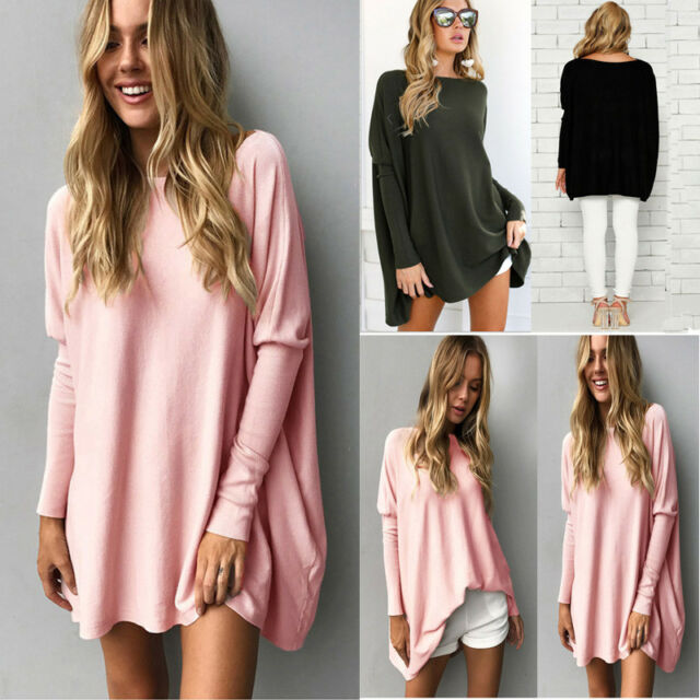UK Womens Long Sleeve Oversized Pullover Sweater Jumper Dress Ladies Tops Blouse