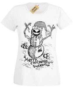 EVIL-SNOWMAN-Womens-T-Shirt-Christmas-spooky-skull-gothic-ladies-burton-present