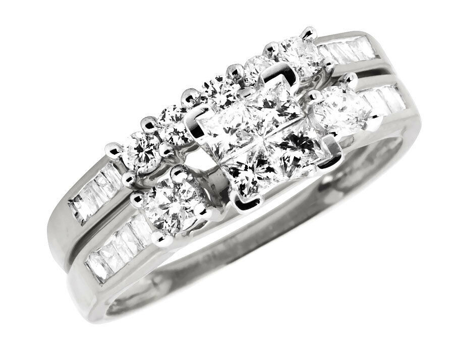 10K White gold Princess Diamond Invisible Set Engagement Bridal Ring Set 0.90ct