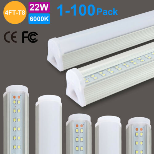 1-100pcs T8 LED light bulb lights 4FT 120cm Integrated with fixture Double row