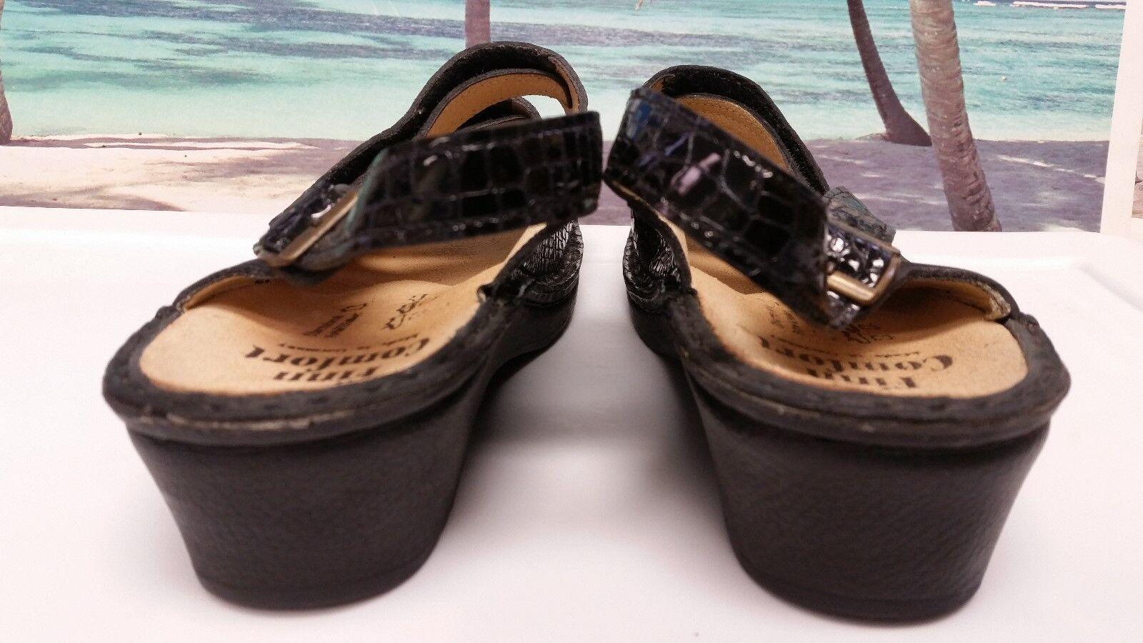 Finn Comfort Women's Black Leather Adjustable size UK UK UK 7D Jersey Soft EXCELLENT ef6d22