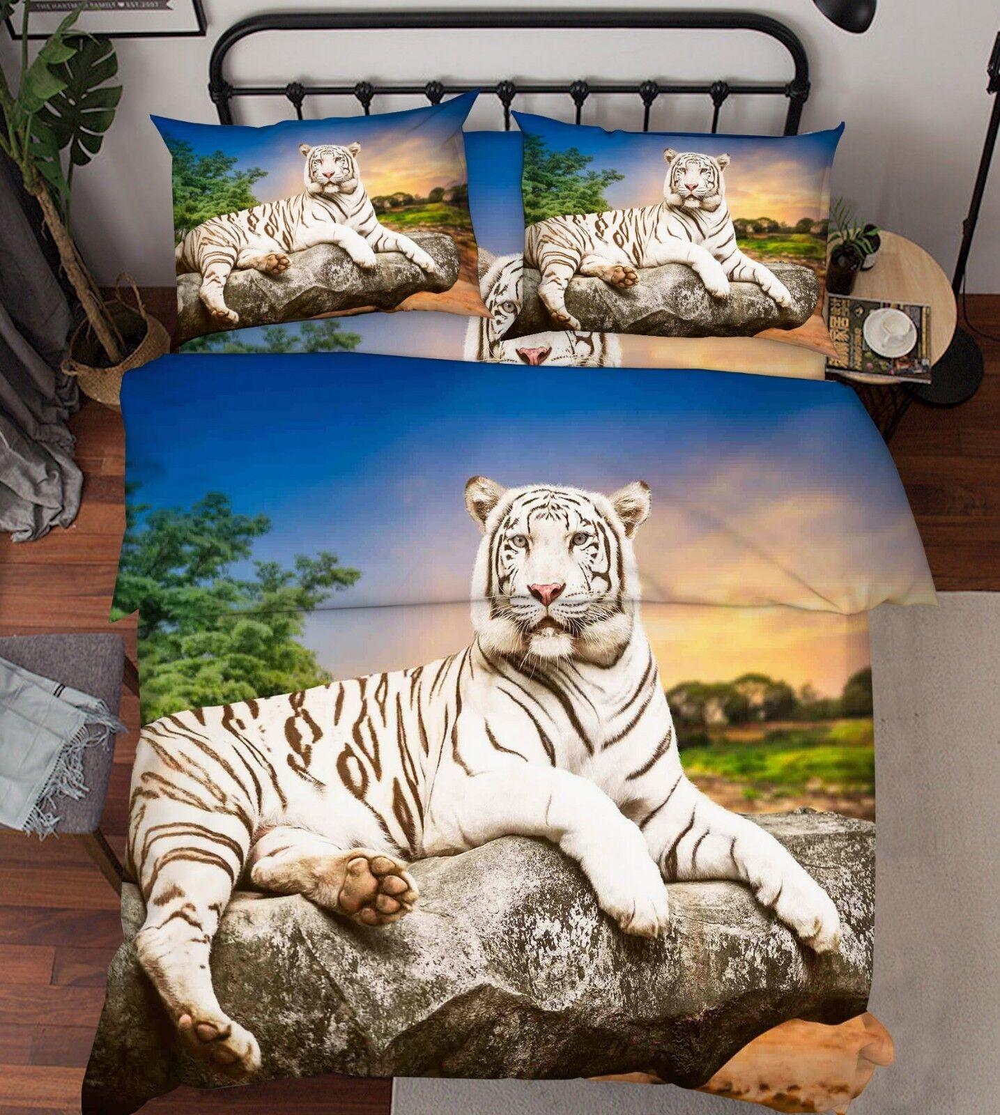 3D Stone Rest Tiger 3 Bed Pillowcases Quilt Duvet Cover Set Single Queen King