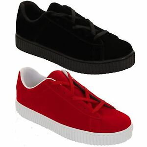 Womens Faux Suede Lace Up Platform Heeled Trainers Creepers Flatform Loafers