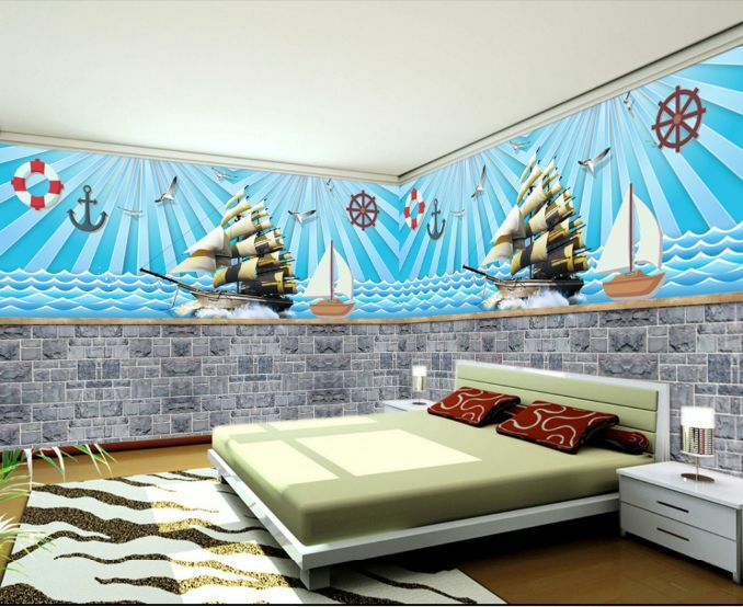 3D Mer Galion 2 Photo Papier Peint en Autocollant Murale Plafond Chambre Art