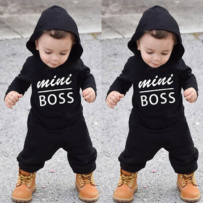 2019 Toddler Kids Baby Letter Boys Girls Hoodie Outfits Clothes Romper Jumpsuit