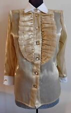 Vintage ESCADA Margaretha Ley Gold Silk Blouse Shirt Jabot sz 36 S
