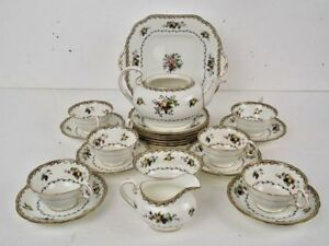 Aynsley-England-Scarce-Peony-Fruit-Design-22-Piece-Fine-China-Early-1900-Tea-Set