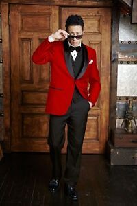 ad58ea798ce Image is loading Stunning-Red-Tuxedo-Dinner-Jacket-Formal-Holiday-TUXXMAN-