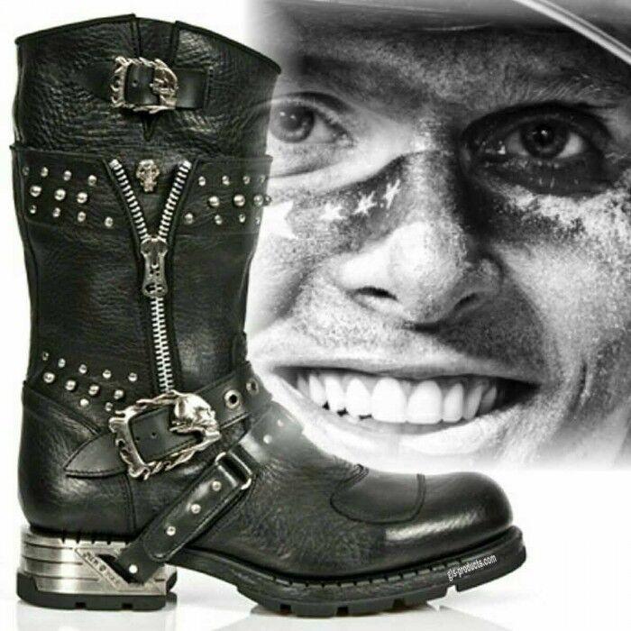 Nuevas botas de de de rock MR022 ingeniero Estilo Gótico Streetfighter Biker Cuero Cremallera 7be5c6
