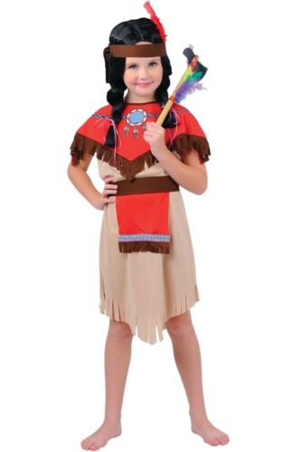 Child NATIVE INDIAN GIRL Fancy Dress Costume Girls Outfit Book Week Age 3-10