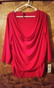 Ashley-Blue-3XL-Fits-Like-1X-Deep-Red-Drape-Front-Knit-Polyester-Top-USA-NWT