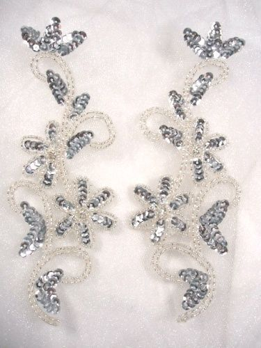 0396 SEQUIN APPLIQUES SILVER BEADED MIRROR PAIR SEWING DANCE PATCH MOTIFS  7/""