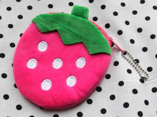 Sweet Strawberry Velours Sac à main SCHOOL Dîner Argent De Poche Fruits Kawaii Kids