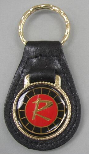 """Vintage RAMBLER /""""R/"""" Black Leather Goldtone Keyring 1956 1957 1958 1959 1960 1961"""