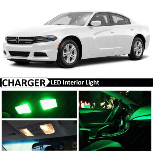 Green Interior LED Lights Package Kit for 2011-2016 Dodge Charger