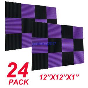 "48 Pack purple BLACK 1/"" x 12/"" x 12/"" Acoustic Wedge Studio Foam Sound Absorption"