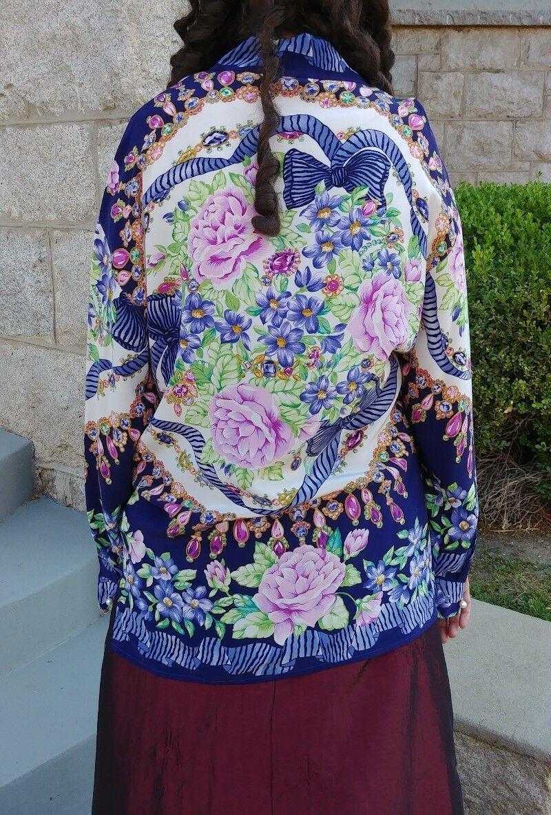 Dana Buchman brand women's long sleeve silk blouse size 4 4 4 247d32