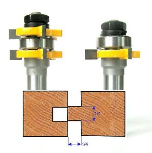 """2 pc 1/2"""" Sh Cutting Depth 1/4"""" Tongue & Groove Joint Assembly Router Bit Set S"""