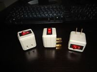 Lot Single-port Outlet Adapter Packs Wall Tap On/off Switch With Light In Beige