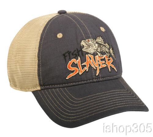 Navy//Khaki Fishing Hat Trucker Hat Baseball Cap Outdoor Cap Fish Slayer Cap