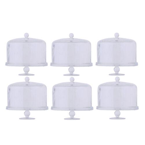 6Pcs 1:12 Miniature Acrylic Cake Display Plates Dollhouse Kitchen Supplies