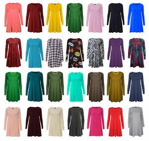 Women-Ladies-Long-Sleeve-Swing-Dress-Flared-A-Line-Skater-Dress-Top-Size-8-26