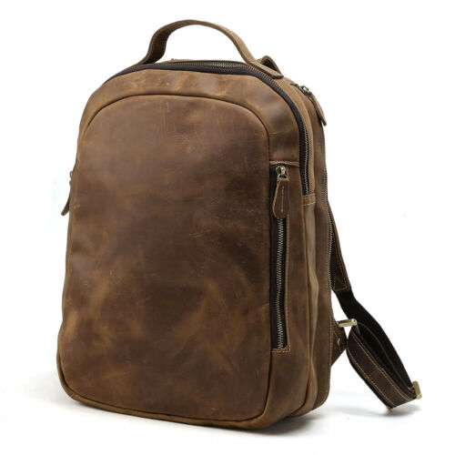 Men/'s Vintage Cowhide Leather Laptop Bag Backpack Travel School Bag Overnight