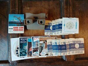 1950'S VINTAGE VIEW-MASTER STEREOVIEWER VIEWER & VARIOUS 24 REELS & REEL LIST