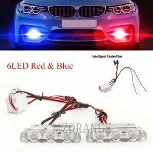 Red-Blue-2X-3-LED-Car-Truck-Flashing-Strobe-Light-Warning-Emergency-Beacon-Lamp