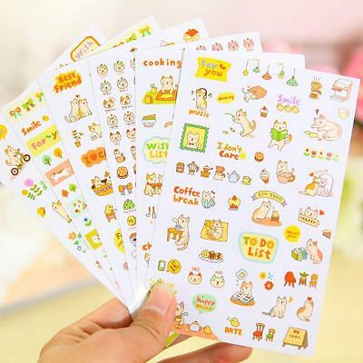 6pcs Cute Lovely Cat Stickers Scrapbooking Memo Diary Decoration