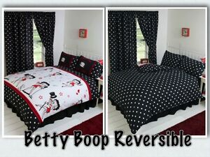 betty boop bedroom reversible bedding duvet quilt cover set polka