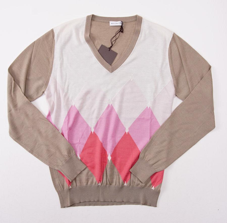 NWT  BALLANTYNE 100% Cashmere Sweater S (Eu 48) Tan-Pink-White Argyle