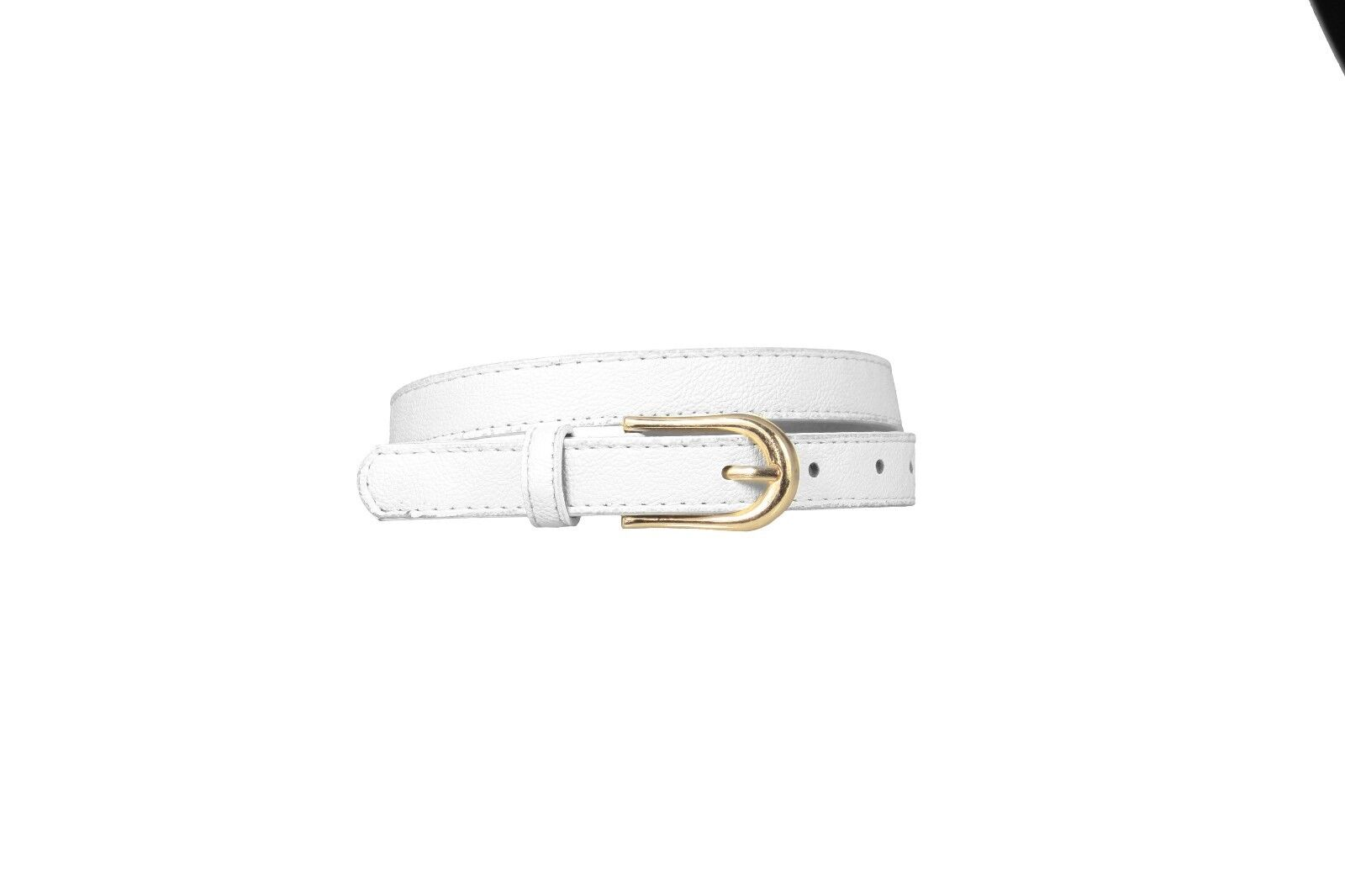 SKINNY TEXTURED CREAM IVORY FAUX LEATHER GOLD BUCKLE S,M & L SALE