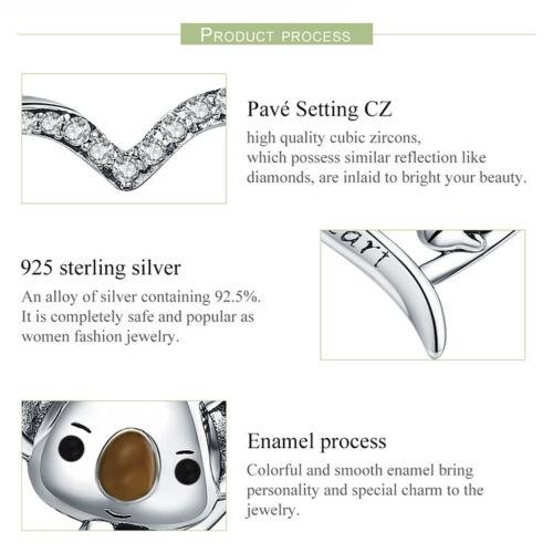 Bamoer S925 Solide Argent Sterling Femmes collier émail Mignon Koala /& cz bijoux
