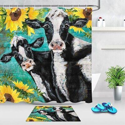 Farmhouse Cow Animal Rural Plank Sunflower Shower Curtain Set for Bathroom Decor
