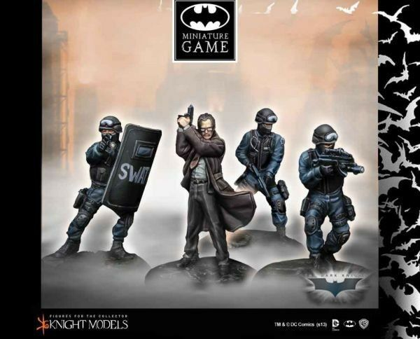 Commissioner James Gordon and Swat Team 1 3 8in Batman Miniature Game Knight