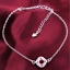 miniature 71 - 925 Sterling Silver Plated Anklet Ankle Bracelet Crystal Foot Chain Ladies CZ UK