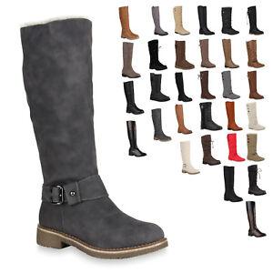 huge discount 3bce6 fe4a4 Details zu Flache & Warme Damen Stiefel Leder-Optik Schuhe Gefüttert 70180  Trendy