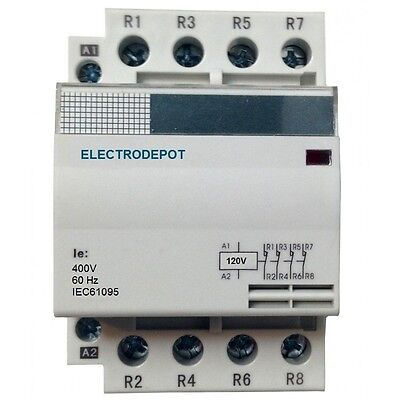 AC Lighting AC Contactor 4 Pole Silent 110v 120V coil, 40A ...