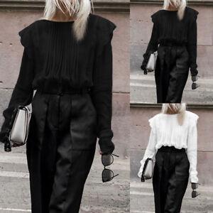 Mode-Femme-Chemise-Manche-Longue-Couture-Dentelle-Casual-Loose-Haut-Tops-Plus