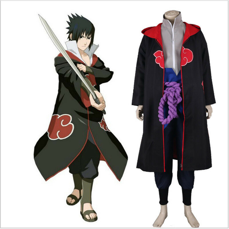 Details about USA Anime Naruto Cosplay Costume Cloak Akatsuti Uchiha Sasuke  Halloween Hooded