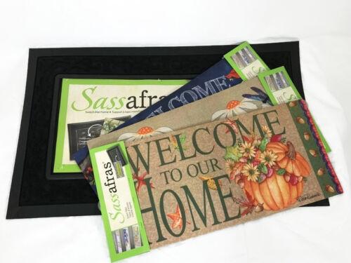 Sassafras Door Mat Tray Black 30x18 Lot 3 Inserts Fall Spring Christmas Winter