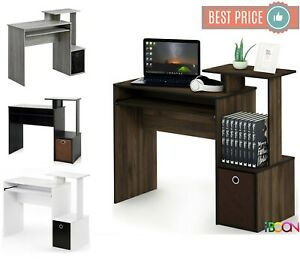 Details about Small Computer Desk Table Wood Office PC Laptop Workstation  With keyboard Tray