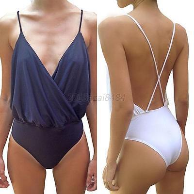 Sexy Spaghetti Strap Backless Bodysuit Strappy Body Tops Clubwear Jumpsuit S-XL