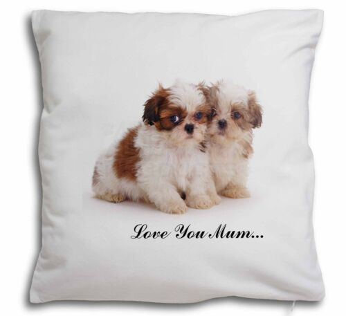 Two Shih-Tzu /'Love You Mum/' Soft Velvet Feel Cushion Cover With I AD-SZ2lym-CPW