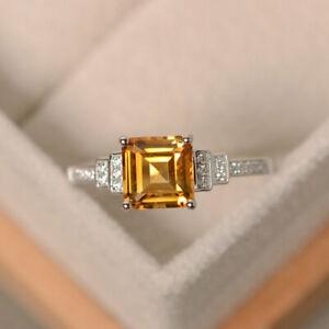 1.95 Ct Princess Diamond Anniversary Citrine Ring 14K White Gold Finish Size 5 6