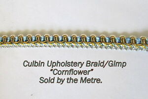 Light-Blue-Old-Gold-Upholstery-Gimp-Braid-10mm-Cornflower-sold-by-the-Metre